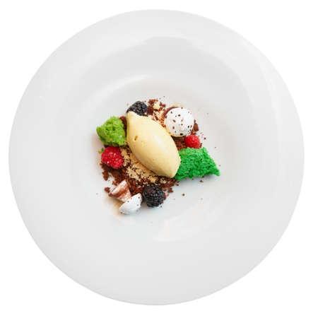haute: Elegant dessert in plate isolated on white background