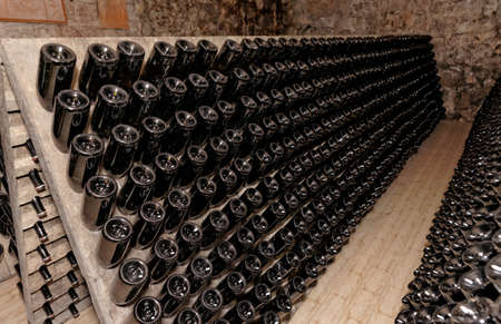 ageing: Riddling rack used for ageing sparkling wines on the lees and clearing the drink