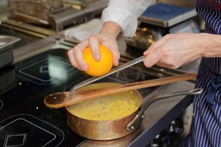 staple: Chef is cooking fregula pasta dish, Sardinian staple