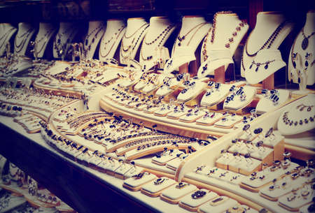 costume jewellery: Garnet jewelry shop, window display, toned image