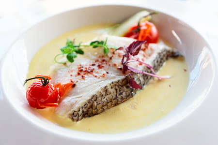 Chilean seabass fillet in plate, close-up Banco de Imagens