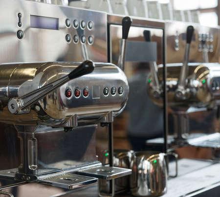 espresso machine: Italian espresso machine, shallow depth of field