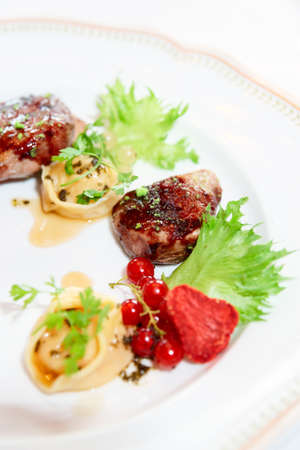 meat food: Duck meat with berries and ravioli, close-up, gourmet food