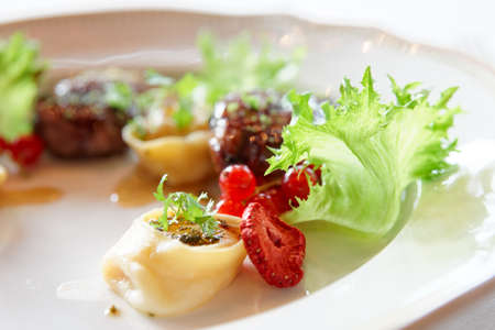 roast duck: Duck meat with berries and ravioli, close-up, gourmet food