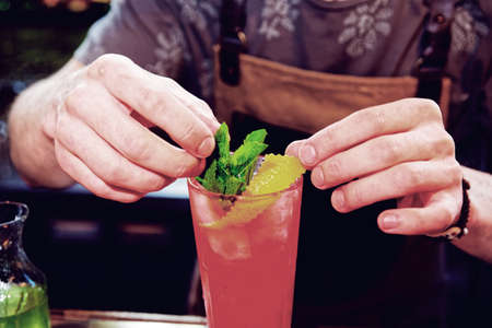 Bartender is adding mint to the cocktail at bar counter, toned image Stockfoto
