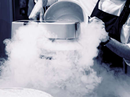 liquid: Chef is making ice cream with liquid nitrogen