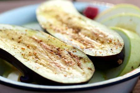 prepared: Eggplant and zucchini prepared for grill