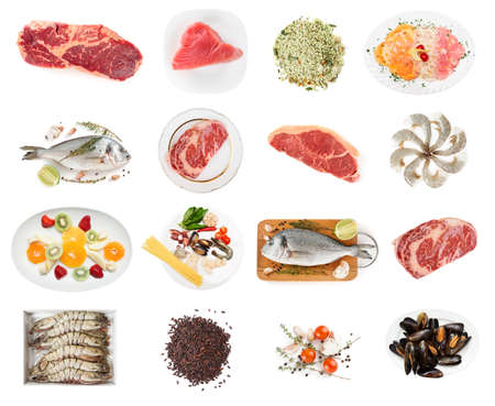 gilt head: Set of raw foods isolated on white background