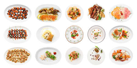 gamba: Conjunto de varios aperitivos de pescado aislados sobre fondo blanco Foto de archivo