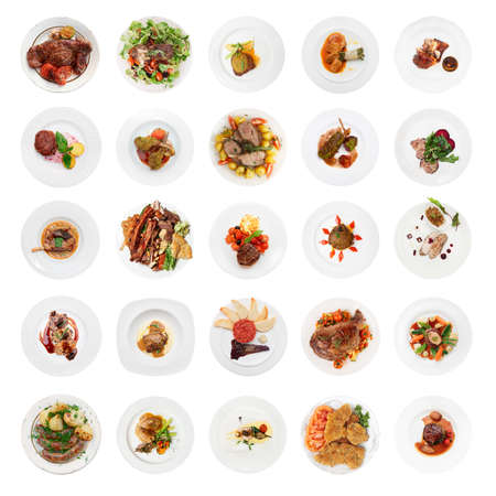 above: Set of various meat dishes shot from above, isolated on white background Stock Photo