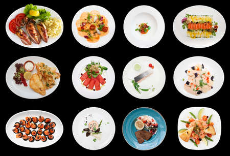 black fish: Set of various fish and seafood dishes, isolated Stock Photo