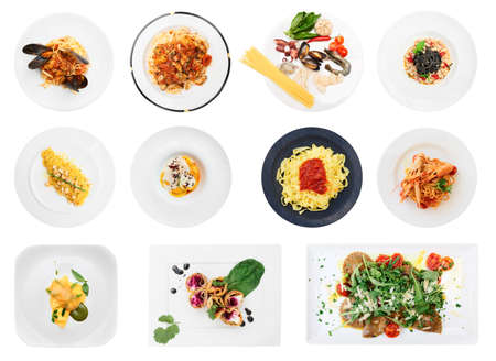 white background: Set of pasta and ravioli dishes isolated on white background