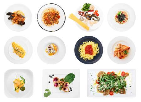 Set of pasta and ravioli dishes isolated on white background