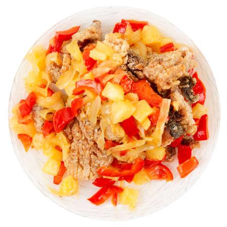 chinesisch essen: Frittierte Karpfen in s��-saurer Sauce, chinesischen Stil Teller, isoliert auf wei�
