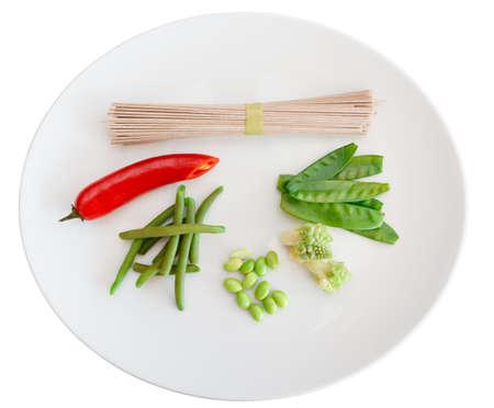 runner bean: Ingredients for a vegetarian dish isolated on white
