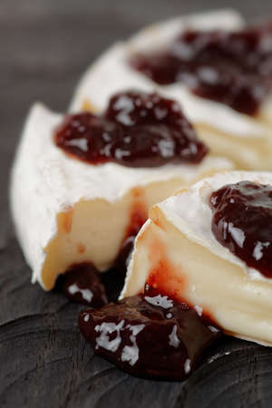 brie: Brie cheese with cherry jam