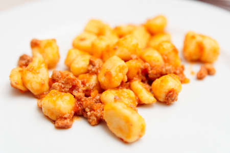 ragout: Italian gnocchi with meat ragout Stock Photo