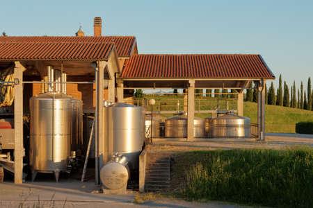 wineries: Winery equipment shot an sunset