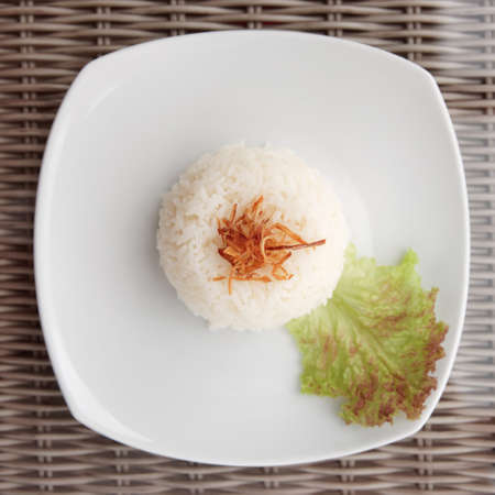 Simple steamed rice served as side dish shot from above Stock Photo