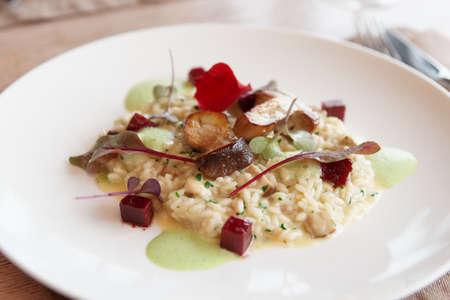 Risotto with fried porcini mushrooms on white porcelain plate