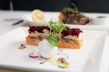 Dressed herring appetizer, traditional Russian cuisine dish, cooked with modern twist