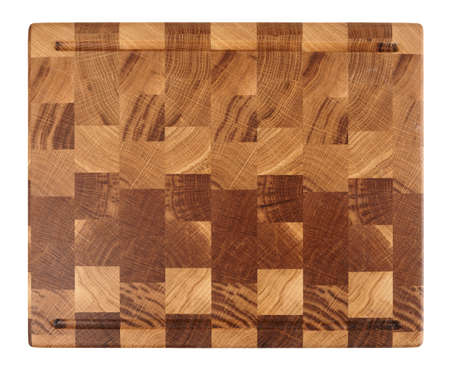 crosscut: New wooden cutting board isolated on white background shot from above