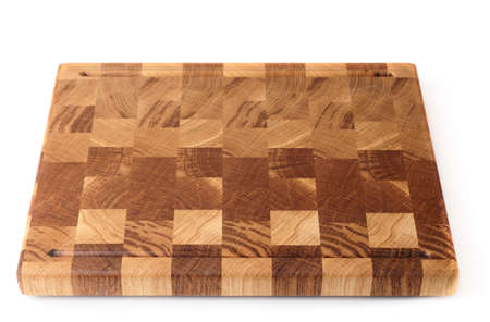 crosscut: Wooden cutting board isolated on white background with smooth shadows Stock Photo