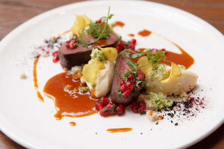 Venison fillet and potato puree, gourmet dish