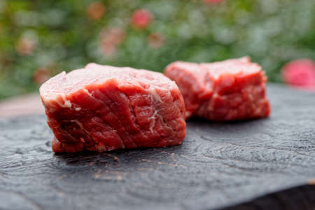 Two pieces of tenderloin beef on black wooden cutting board shot outdooes