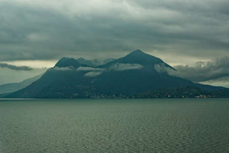 Maggiore lake in rainy weather - Piedmont, Italy