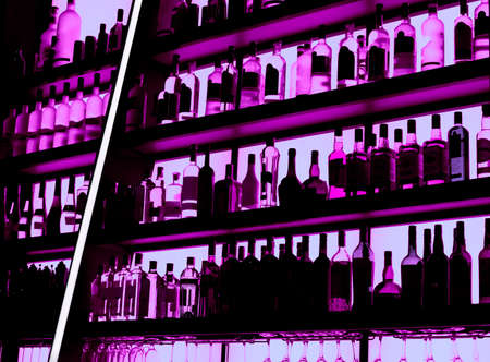 Rows of bottles sitting on shelf in a bar, trademarks deleted, bottle design altered Stock fotó