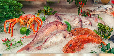 Raw fish and shellfish on iced supermarket display, toned