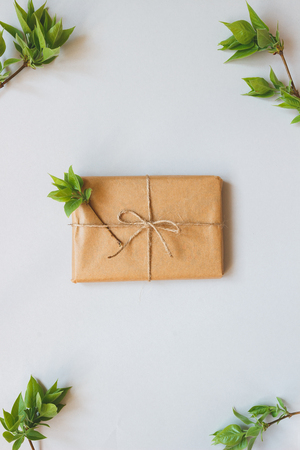 Cute gift box wrapped with craft paper and leaves top view. Gift for any holiday. Stock Photo