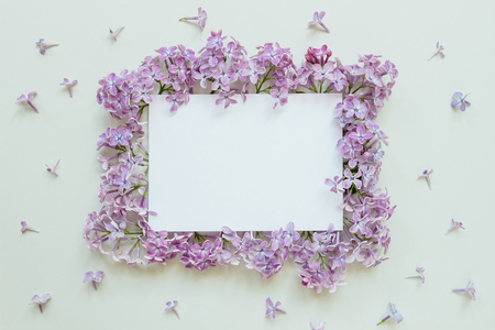Flower background with paper sheet. Beautiful fresh flowers and leaves on gray background, with copy space.