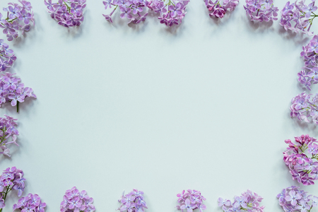 Flowers composition. Tender background. Beautiful fresh lilac flowers on gray background, with copy space