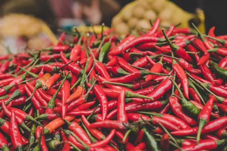 Red chilli peppers at street food market.