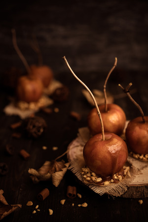 Autumn mood background. Old fashioned toffee apples with twig sticks.
