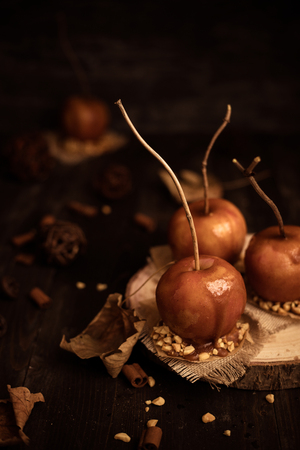 Old fashioned toffee apples with twig sticks. Autumn mood background. Stock Photo