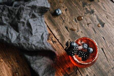 Fresh berry drink with blackberries and blueberries. 스톡 콘텐츠