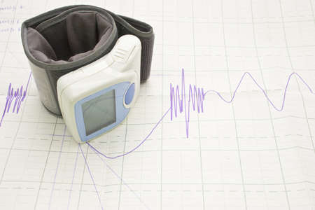 palpitations: ECG and blood pressure monitor isolated on white background
