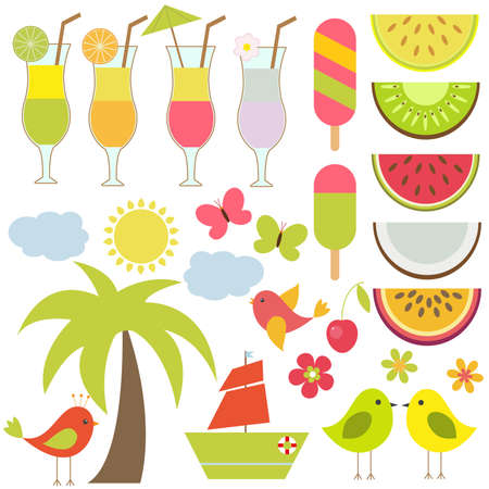 sun cream: Vector set for summer theme. Palm trees, cold drinks, summer fruit and poultry. Illustration
