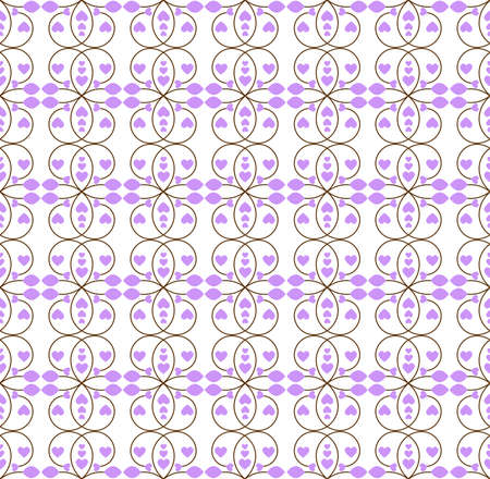 branching: Vector seamless pattern of branching patterns with petals and purple hearts on a white background