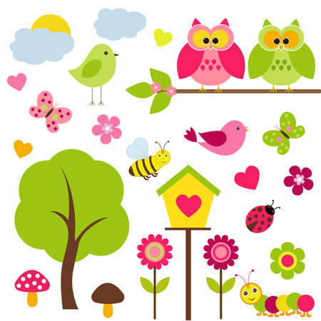 Vector set of spring theme. Owls sitting on a tree, among other birds, butterflies, ladybugs, caterpillars, bees and spring plants. Illustration