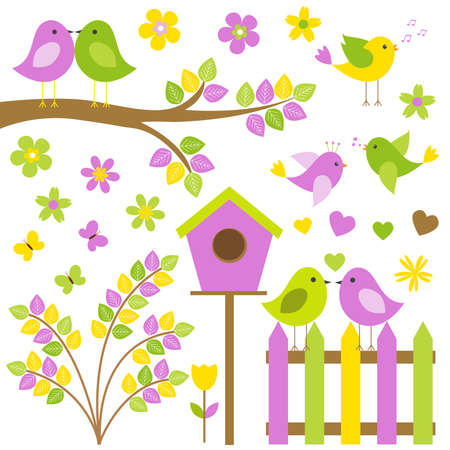 tulips in green grass: Vector set for a summer theme. Different birds sitting on branches, among butterflies and flowers.