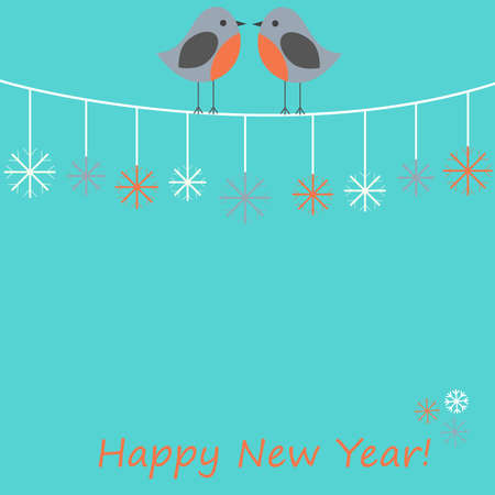 Vector card with Christmas theme. Lovers of birds sitting amongst the snowflakes. Theres space for photo or text. Illustration