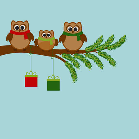 art processing: Vector card with Christmas theme. A family of owls sitting on the branch of a tree.