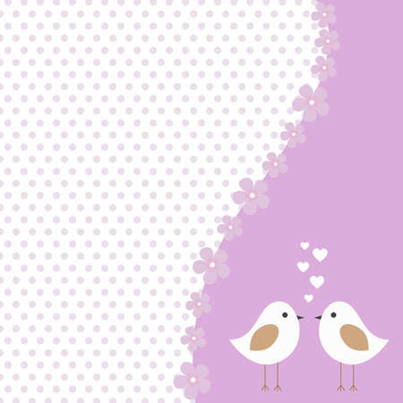 Vector frame, label love birds in shades of purple, decorated with flowers on Valentines day