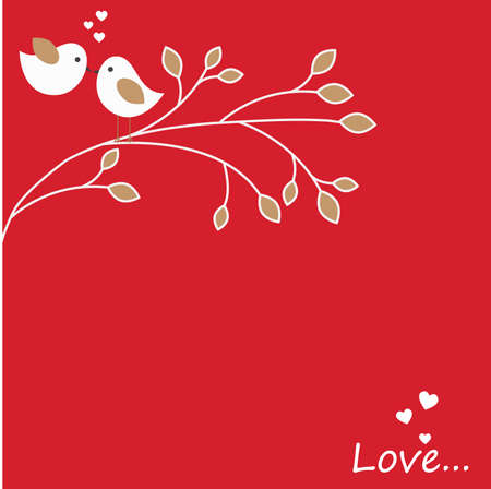 Vector holiday illustration on theme of Valentines day with a pair of love birds