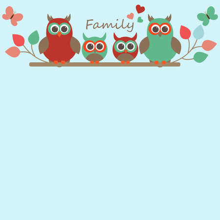 free place: Vector greeting card on the theme of family. Owls children sitting on a branch among the butterflies. There is a free place for text or photo. Illustration