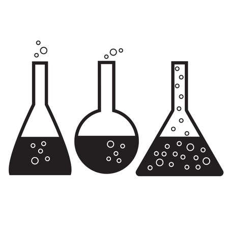 amoniaco: Vector conjunto de frascos de laboratorio químico en blanco y negro sobre un fondo blanco